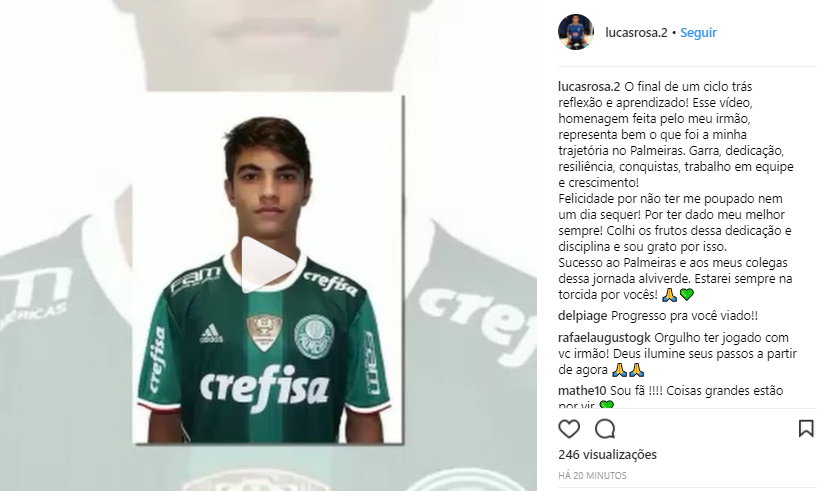 Lucas Rosa se despede do Palmeiras no Instagram